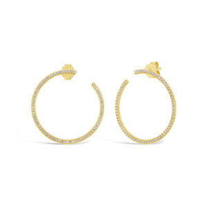 a74220aee6df8e 0.44CT 14K Yellow Gold Natural Round Diamond Open Circle Drop Stud ...