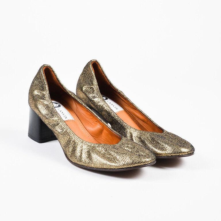 Lanvin NIB gold Black Cracked Leather Block Heel Ballerina Pumps SZ 36
