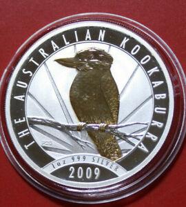 Australien-1-Dollar-2009-1-Oz-Unze-Kookaburra-F3785-Nur-5000-Gold-gildet