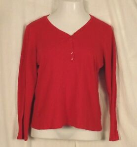 CATO-Large-Shirt-Red-Womens-Long-Sleeve-V-Neck