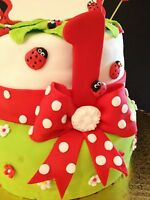 12 Edible Topper Lady Bugs Fondant Gumpaste Cupcake, Cake Decoration