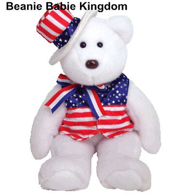 "TY BEANIE BUDDY * SAM * THE USA WHITE TEDDY BEAR WEARING A STRIPED HAT 15"" TALL"