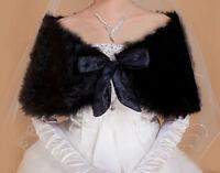 Bridal Black Faux Fur Bolero Shawl Shrug One Size