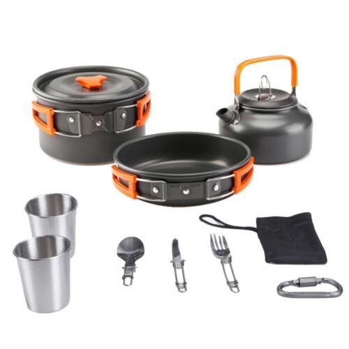 3//8//10Pcs Camping Cookware Mess Kit Backpacking Camping Gear Pots and Pans Set