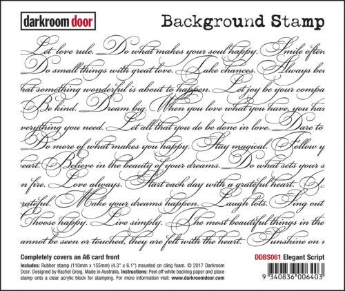 """DDBS061 Darkroom Door Background Cling Stamp 4/""""X6/""""-Elegant Script"""
