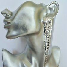 Crystal Fringe Snake Chain Dangle Drop Earrings with Tassels in silver tone