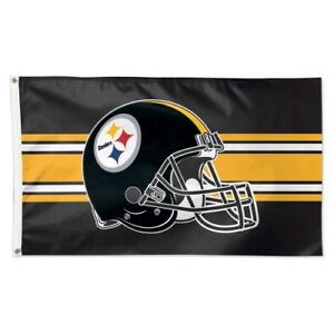 0054a1db Details about PITTSBURGH STEELERS ~ Official NFL Large Helmet 3x5 Foot  Flagpole Flag ~ New!