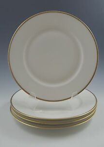 ANTIQUE-THEODORE-HAVILAND-LIMOGES-SET-OF-4-PLATES-GOLD-RIM-1925-30