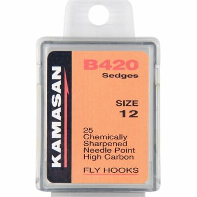 Fly Tying Hooks sharp pack of 25 hooks Kamasan B420 Sedge up eye