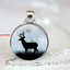 Vintage Doe Cabochon Tibetan silver Glass Chain Pendant Necklace New Jewelry