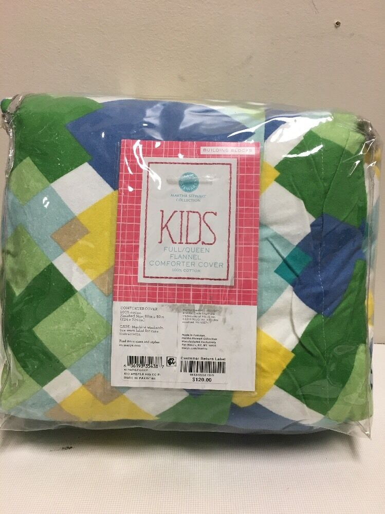 Martha Stewart KIDS Full Queen Flannel Comforter Cover, NIP