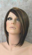 Short Wig Dark Brown Mix Asymmetrical Bob Skin Part Face Frame Wigs US Seller