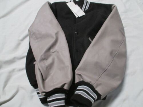 Details about  /DELONG YOUTH LARGE BLACK GREY  JACKET WITH 2 GREY STRIPES OUTLINED IN WHITE