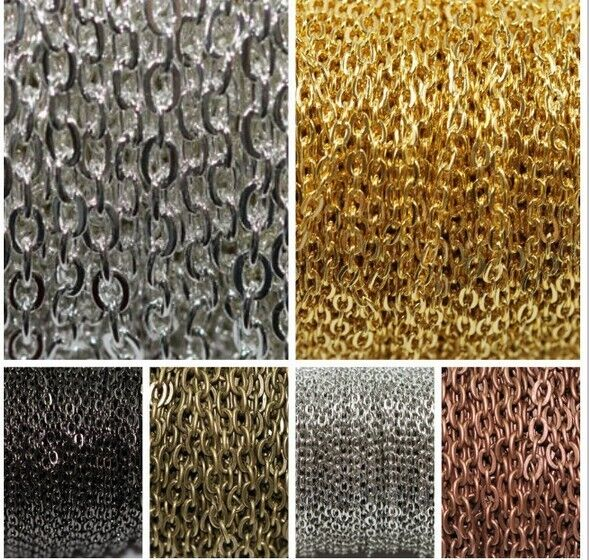5m  Silver Golden Plated Cable Open Link Iron Metal Chain Findings 6Colors C805