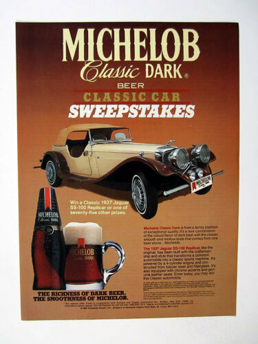 1937 Jaguar SS100 replicar//Michelob Sweepstake  8 1//2x11inch.color Reprint $6.50