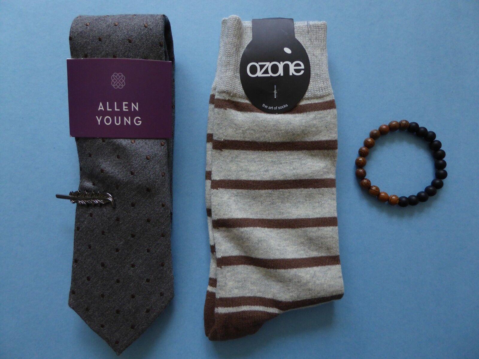 Allen Young Gray Dots Tie + Ozone Striped Sock + Tie Clip + Tropicalia Bracelet