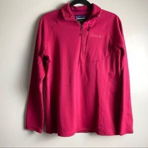 Patagonia-Women-039-s-Size-Large-R1-Fleece-Quarter-Zip-Pullover-Craft-Pink