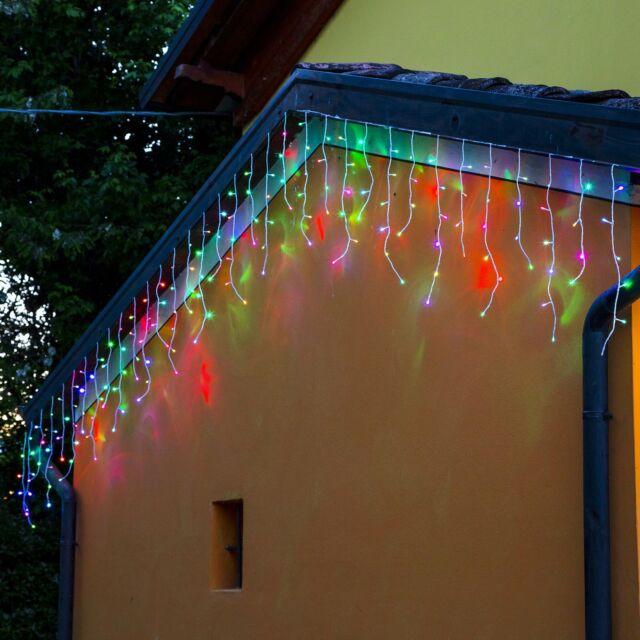 Tenda catena luminosa esterno RGB multicolore luci natale 100LED prolungabile 3M