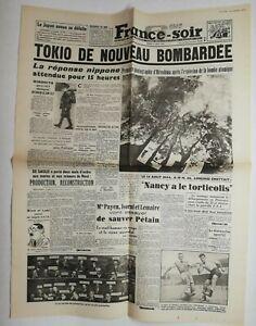 N706-La-Une-Du-Journal-France-soir-14-aout-1945-Tokio-de-nouveau-bombardee