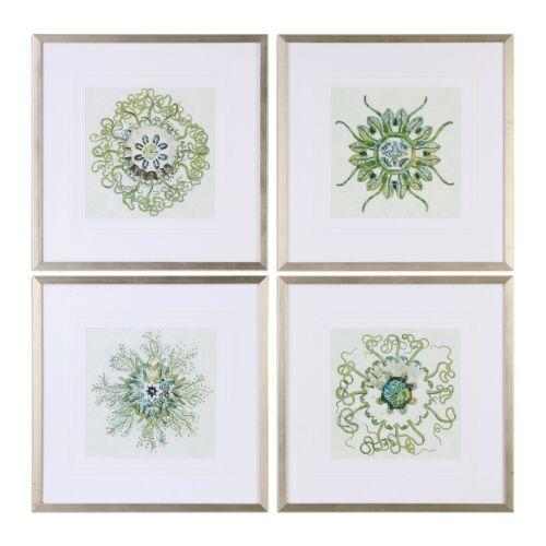 Botanical Mandala Wall Art SetSet 4 Group Green Silver Frame Square
