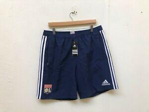 Adidas Ol Olympique Lyonnais Fc Club Des Hommes De Tissé Shorts-large-bleu Marine-neuf-afficher Le Titre D'origine
