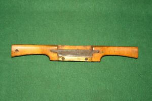 19thC-Antique-Wooden-11-034-Adjustable-SpokeShave-Brass-Plate-amp-TurnScrews-INV-CL01