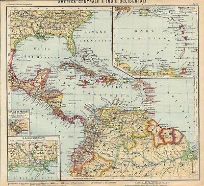 Cartina Geografica Dell America Centrale.Carta Geografica Antica America Centrale Indie Occiden Paravia 1941 Antique Map Ebay