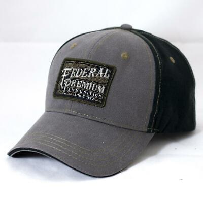 FEDERAL AMMUNITION *GREY /& BLACK TWILL w//PATCH LOGO* HAT CAP *NEW* FD03