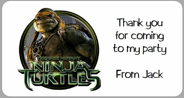 24 X Personalised Stickers Teenage Mutant Ninja Turtles Thank You Party Address