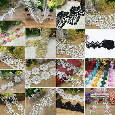 2-10 Yards Delicate Flower Embroidered Applique Net Lace Trim Sewing DIY Craft