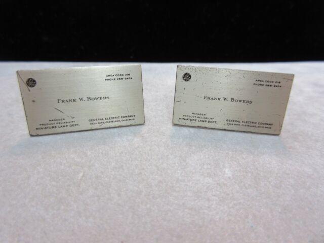 Rare GE General Electric Business Card Cufflinks 1950's