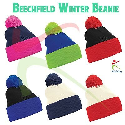 BEECHFIELD POM POM HAT BOBBLE SLOUCH BEANIE TWO TONE CONTRAST WINTER KNITTED NEW