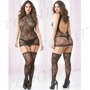 1bc7eca3c6 Image is loading New-Women-sexy-lingerie-seamless-lace-bodystocking-Black-