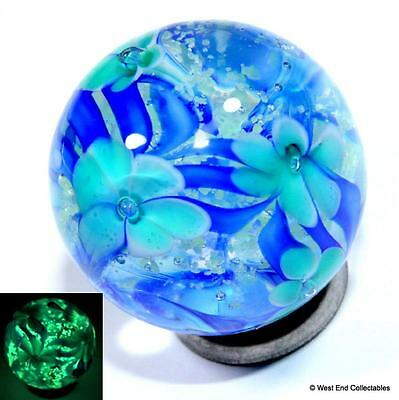 22mm Twilight Bloom Glow In The Dark Glass Art Toy Marble - Handmade Collectors