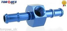 """8mm Barb Push On With 1/8"""" NPT Side Port Gauge Adapter Take Off Blue"""