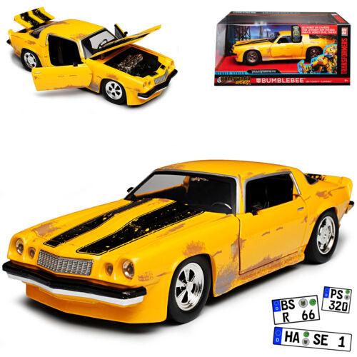 Chevrolet Chevy Camaro 1977 Gelb mit Schwarz Bumblebee Transformers 1//24 Jada Mo