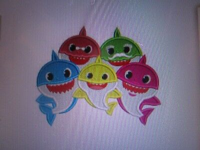 5in.x 6in. Iron on embroidered applique Baby sharkies family