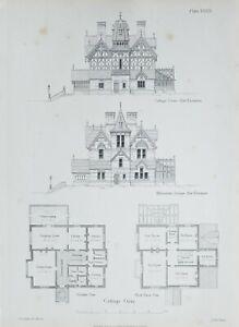 1868-Architektonisch-Aufdruck-Huette-Orne-Muehle-Gruen-Essex-Plan-Alternatice