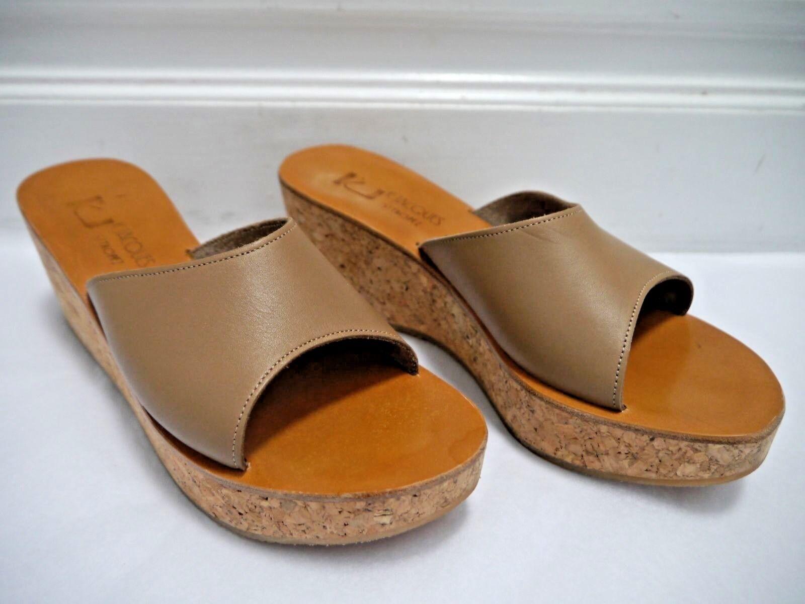 NUOVO K. JACQUES  312 taupe cuoio sughero  in pelle Coloreee Marroneee sandali di dimensione 41  grandi prezzi scontati
