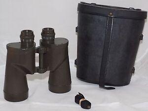 US-Army-Bausch-amp-Lomb-7x50-Green-Paint-M-17-military-Binoculars-Hood-Case