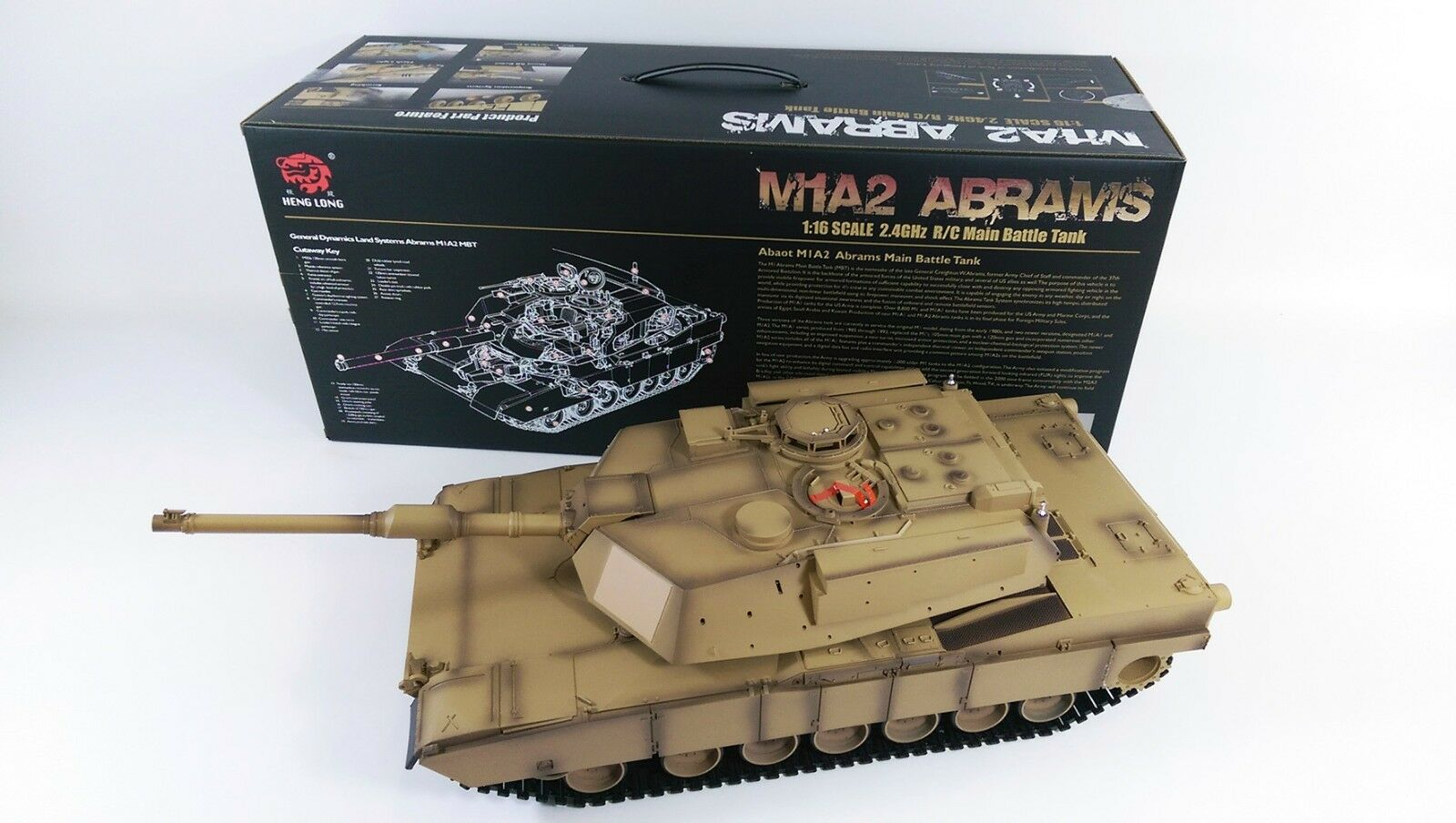 NEW Heng Long Radio Remote Control RC Abrams M1A2 Desert Camo Tank 1 16th 2.4GHz