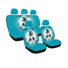 New Blue Tropical Palm Trees Universal fit Front Back Car Truck Seat Covers