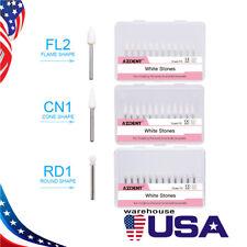 Dental White Stone High Speed Polishing Burs Fg Coneflameround Aluminum Oxide