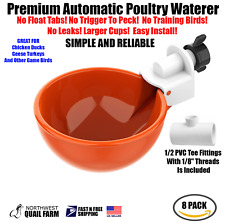 10 Chicken Watering Cups Withtee Fully Automatic No Peck No Leak Free Shipping