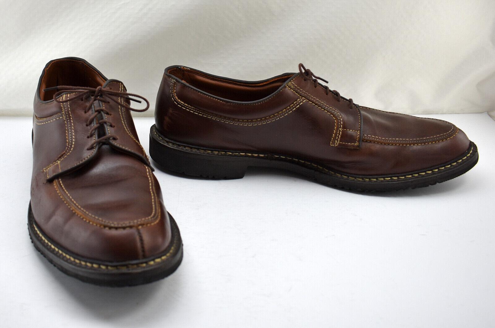 Alan Edmonds Wilbert mokasin dedo del pie marrón cuero, suela de caucho Oxford talla 15B