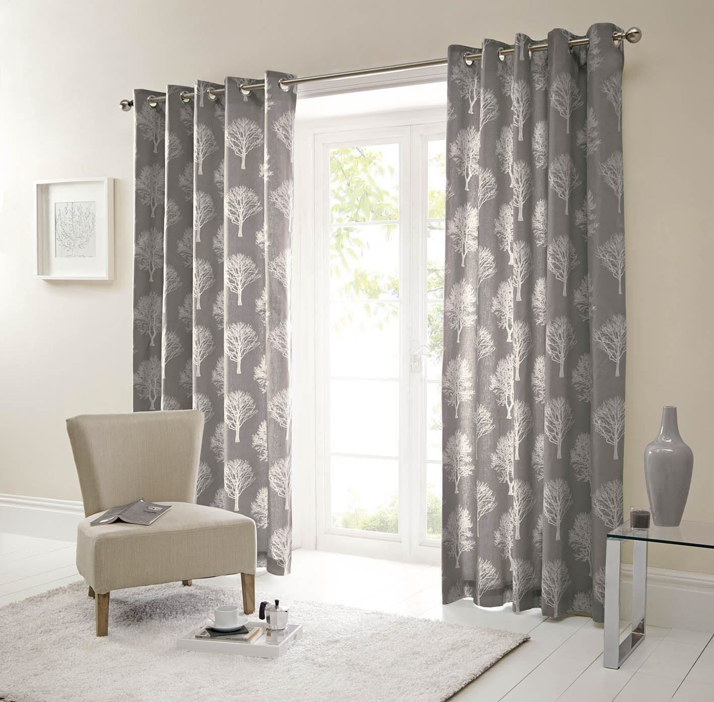 FOREST TREES CHARCOAL CHARCOAL CHARCOAL Weiß 90X90 RING TOP LINED CURTAINS  SEERTDNALDOOW CUR b8b852