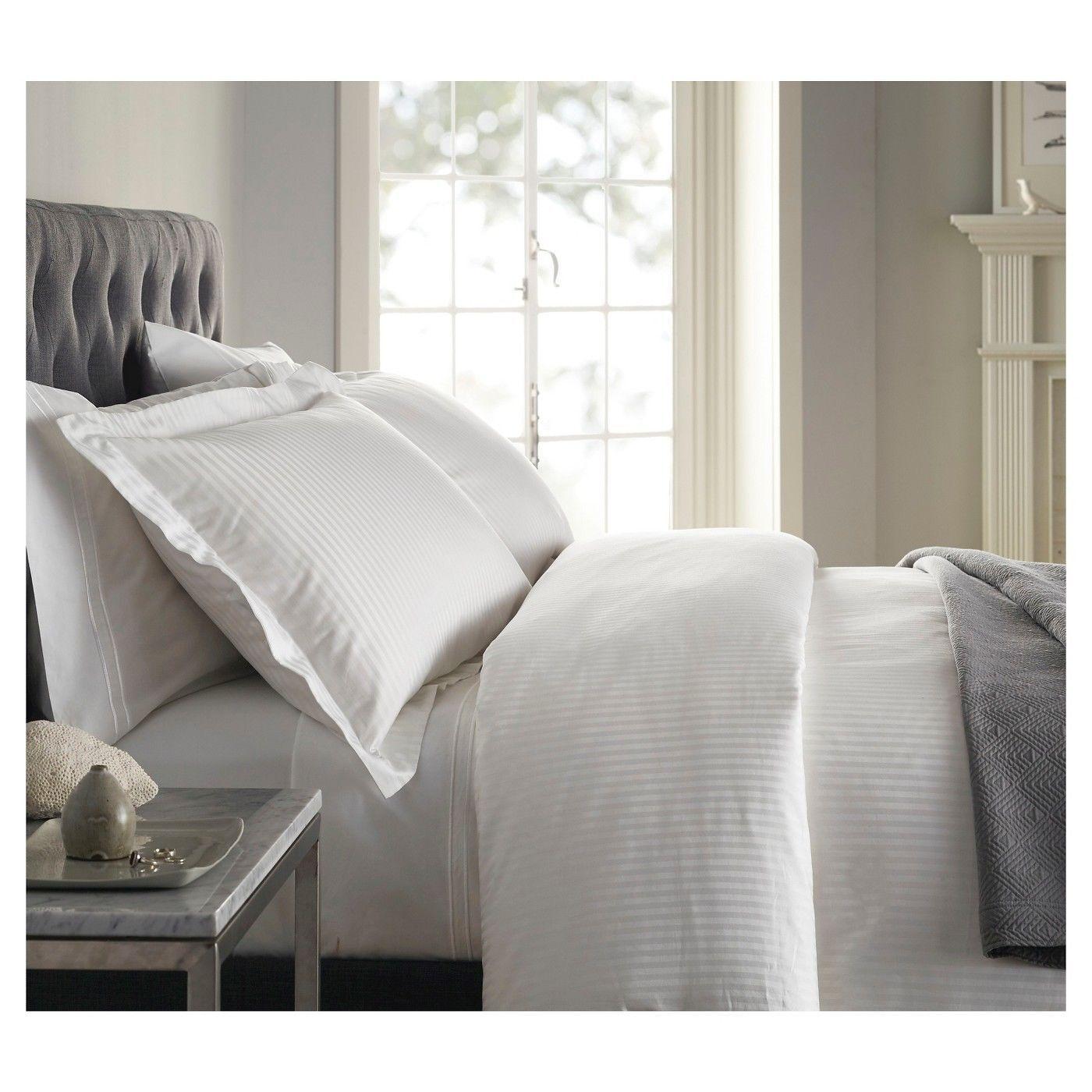 New Fieldcrest White Damask 500TC 100% Cotton Queen Duvet Cover Set 3pc