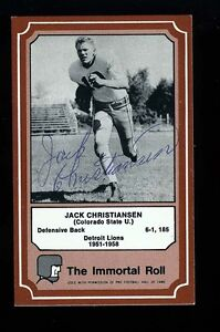 JACK CHRISTIANSEN - LIONS - Autographed 1975 Immortal Roll w/COA - Died 1986