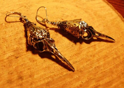 Vintage Retro art deco skull steampunk Ohrringe hänger cluster silber 925