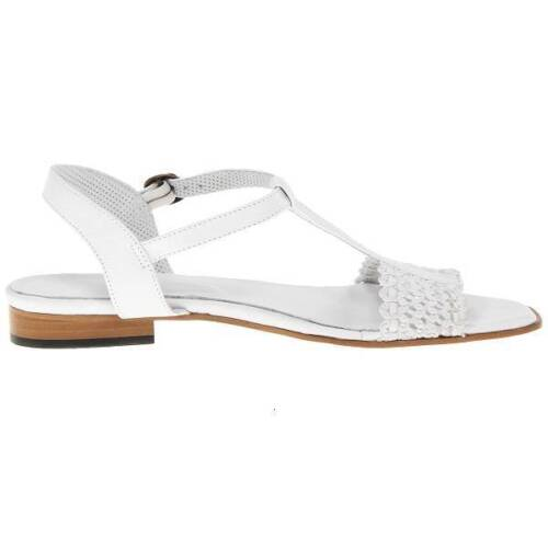 "White $229 Sesto Meucci /""Kornel/"" T-Strap Leather Sandals Women/'s Shoes"